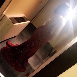 Long fitted burgundy mermaid prom dress