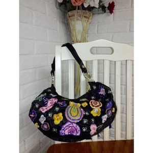 Handbags - Floral Embroidered Sequin Beaded Handbag