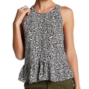 14th & Union Printed Woven Tie Back Pony Blouse