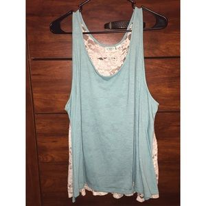 Tops - Baby blue tank top w/ lace back