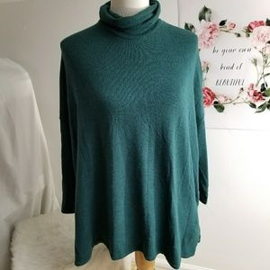 Anthropologie Postmark Green oversized Turtleneck