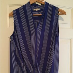 Striped blue sleeveless wrap top