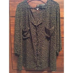 Tops - Army green leopard print blouse