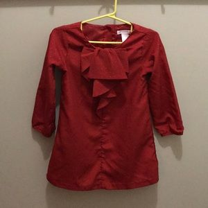 Janie and Jack Dress red with gold dots 3T