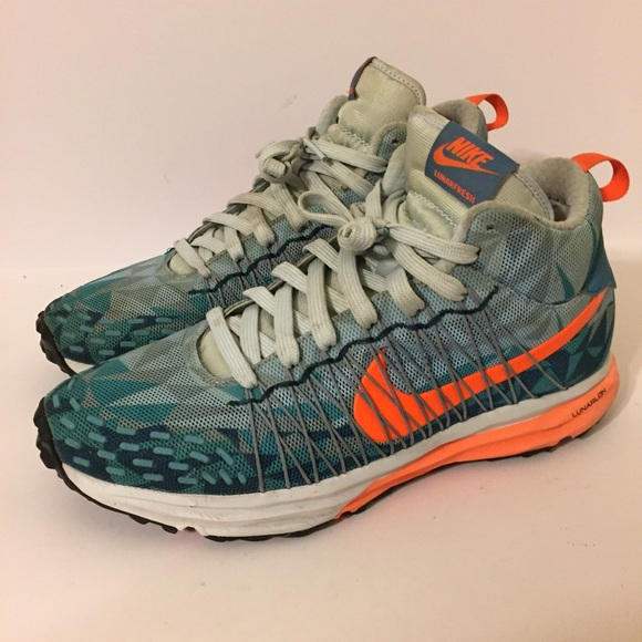 Nike Lunarfresh Sneaker Boot Blue Orange Size 9