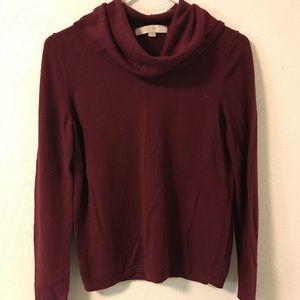 Ann Taylor Loft Cowl Neck Sweater Red Medium