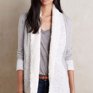 {Anthropologie} Ambrose Gray Cardigan Faux Fur M