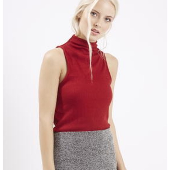 440e4831055004 Topshop • Red ribbed sleeveless Turtleneck. M 5a10f4bd620ff7707604edfa.  Other Tops ...