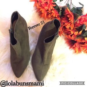 Forever 21 Olive Green Side Wedged Booties