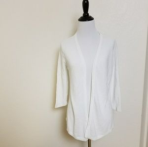 Christopher & Banks White Textured Open Cardigan