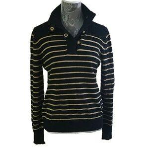 RALPH LAUREN LRL striped button up cowl sweater