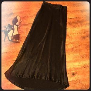 Black satin maxi skirt