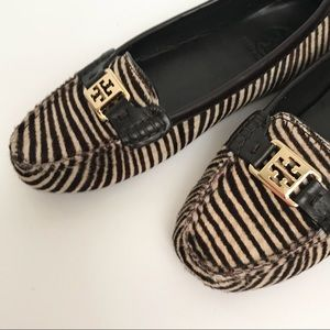 TORY BURCH Calf Hair Leather Driving Loafers Sz 8