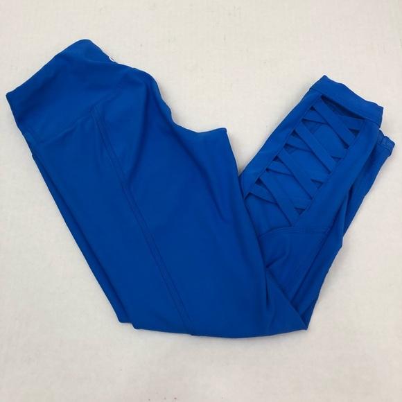 55d0f3c789 90 Degree By Reflex Pants - 90 Degrees Cobalt Blue Cutout Workout Cropped  Pant