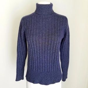 Saks Fifth Shimmer Purple Blue Turtleneck Sweater