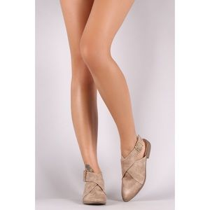 Qupid buckle wrap open back flats - taupe