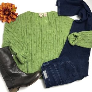 Anthropologie Lucie Green Pointelle Sweater