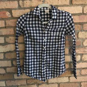 JCrew Perfect Shirt in navy gingham