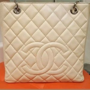 Chanel PST ( petite shopping tote) caviar ivory