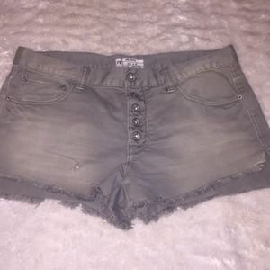free people grey/ green jean shorts high waisted