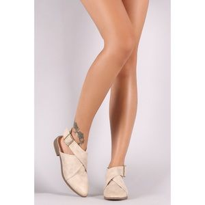 Qupid buckle wrap open back flats - stone