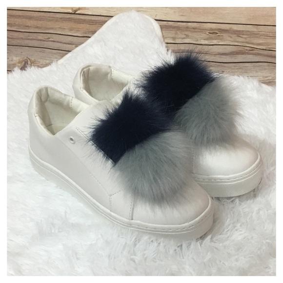 4d2848c135c77 Sam Edelman Shoes - NWOB Sam Edelman Leya Faux Fur Sneaker- Navy Gray