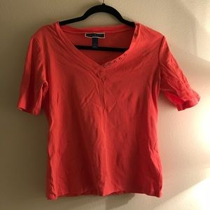 Orange Karen Scott V neck Top