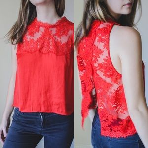"""Free People """"Tied To You"""" Lace Top in Red"""