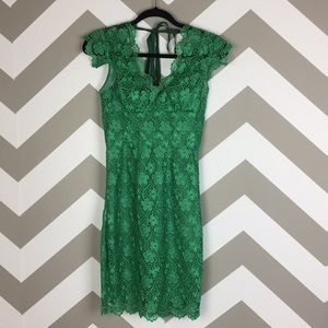 Tracy Reese Green Lace Floral Ribbon Dress