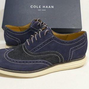 Cole Haan Mens Suede Denim Shoes 10.5 New Sneakers