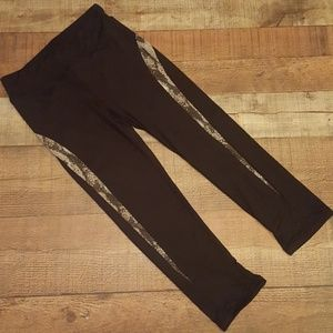 Boston Proper sport black and snakeskin leggings