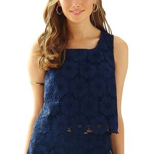 Lilly Pulitzer Lux Cropped Lace Top in Navy