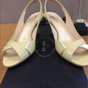 Prada white kitten heels (practically new!)