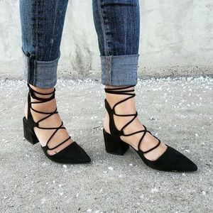 Zara ☁️ Lace Up Pointed High Heels