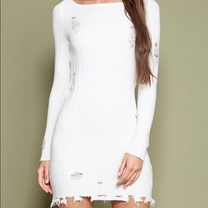 NWT White Distressed Sweater Dress
