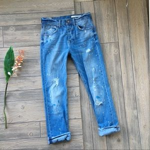 ZARA WOMAN Jeans Denim Distressed Splatter Size 27