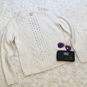 J. Crew Cable Knit Rhinestone Sweater
