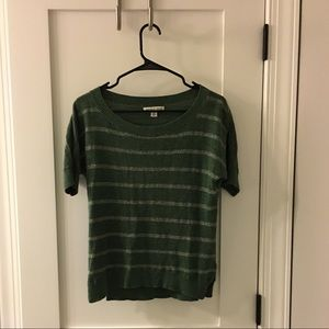 Banana Republic Sweater-like T shirt. Green/Silver