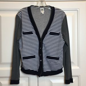 Anthropologie Tiny Varsity Stripe Cardigan Sz L