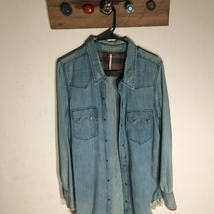 Free people denim button down top