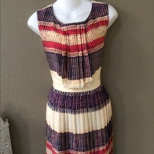 Rachel Roy colorful stripped pattern pleated dress