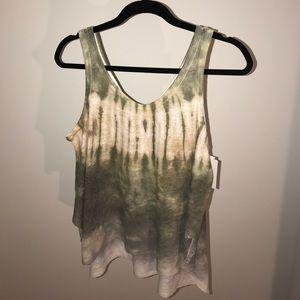 Trendy green tie dye flowy tank