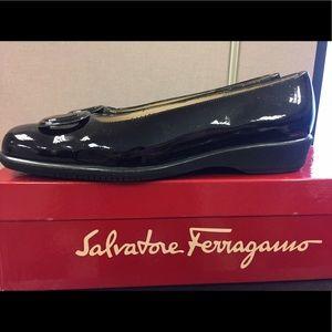 Salvatore Ferragamo black glossy shoes
