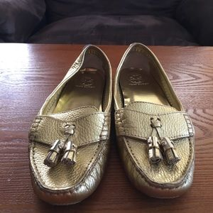 Tory Burch Gold Loafers