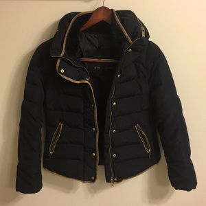 Zara navy down jacket