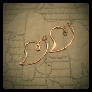 Gold Heart Shaped Hoops