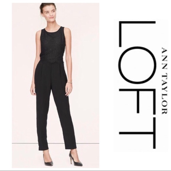 6ad545ae4f8 Ann Taylor LOFT Pleated Lace Jumpsuit Size 10