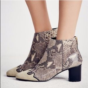 NEW Free People Adelle Gray Snakeskin boots