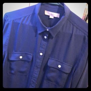 Roll-Tab Sleeved Navy Button-Up Blouse