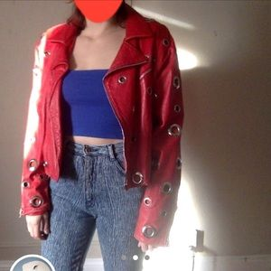 Red leather silver grommet ring motorcycle jacket